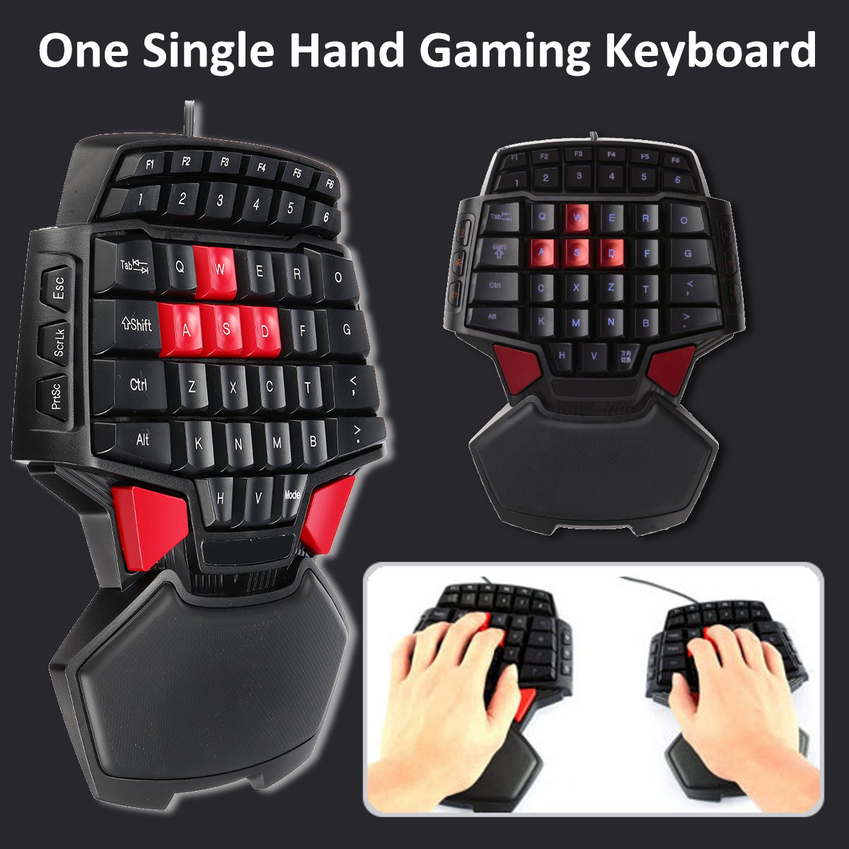 DeLUX T9 47 Key USB Wired Mini Single Hand Gaming Keyboard for PC Laptop