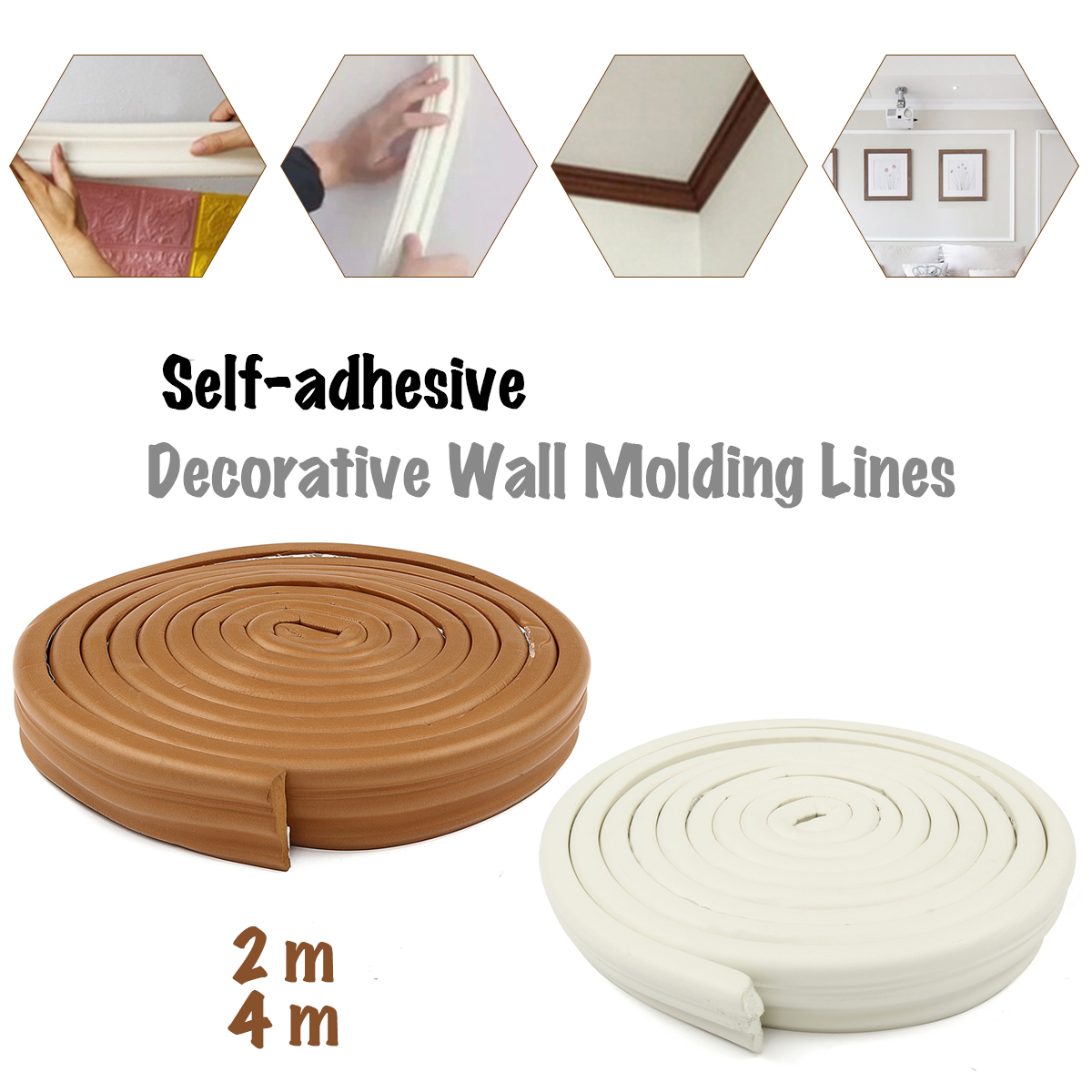 Self-adhesive Wall Lines Sticker Molding Waterproof Edge Strip Trim TV  Setting Foam Frame