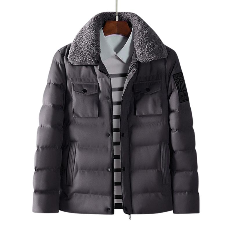 МужскаязимаТолстыйтеплыймеховойлацкан стеганый мягкий куртка