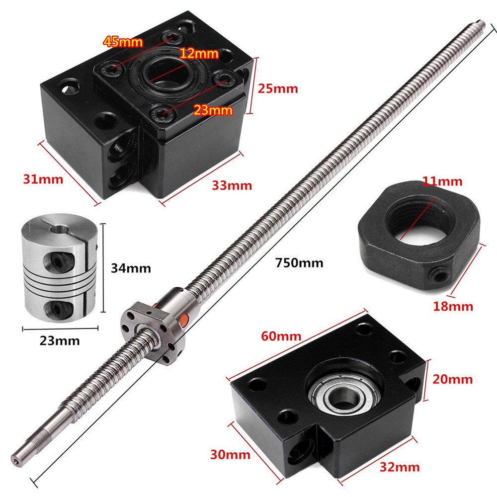 750mm SFU1605 Ball Screw with BK12 BF12 Supports and 6.35x10mm Coupler for CNC