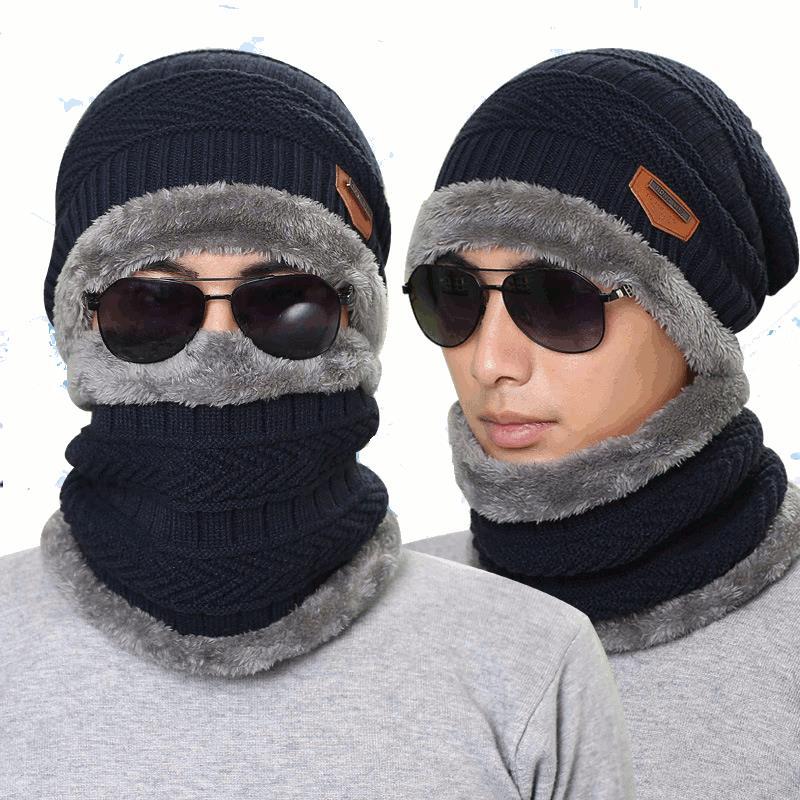 Вязаный Шапка Шарф колпачок Шея теплый зимний Шапкаs для мужчин Женское черепа Beanies флис
