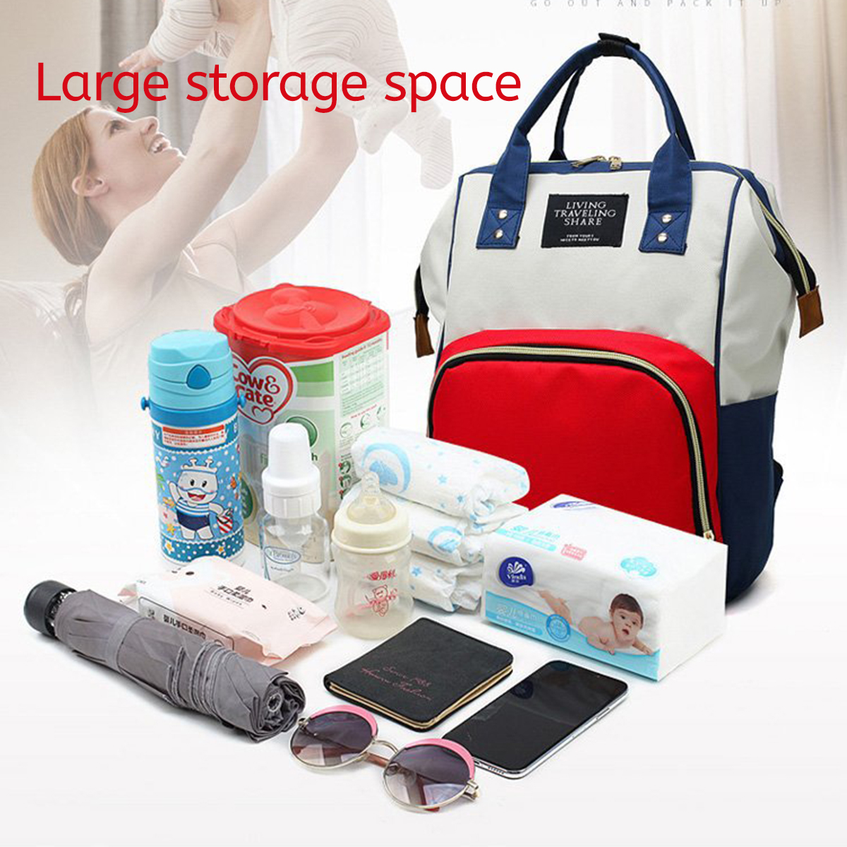 Large Multifunctional Baby Diaper Nappy Backpack Mummy Changing Bag Waterproof Bag