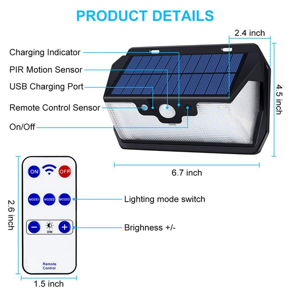 48//54//55//66LED Solar Motion Sensor USB 3 Modes Wall Light Waterproof Garden Lamp