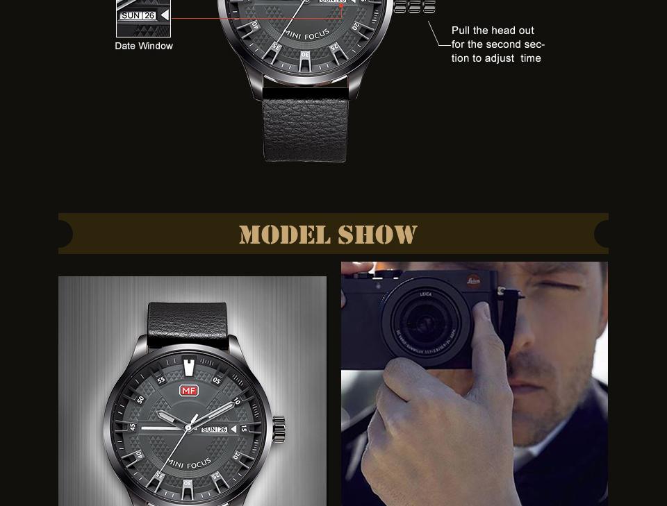 MINI FOCUS MF0028G Casual Style Men Wristwatch Display Date and Week Clock Quartz Watches