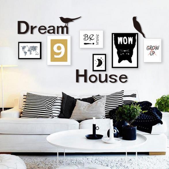 3D Dream House Многоцветный DIY Форма Зеркало Стены Стикеры Главная Стена Спальня Офис Декор