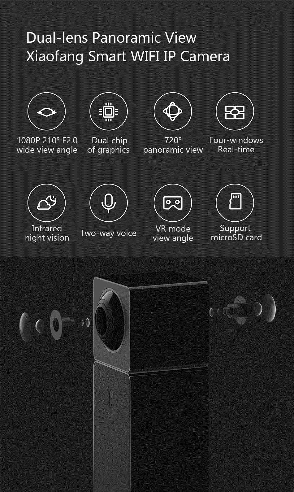 Hualai Xiaofang 1080P Dual Lens Panoramic View Smart WIFI IP Camera From  Xiaomi Eco-System