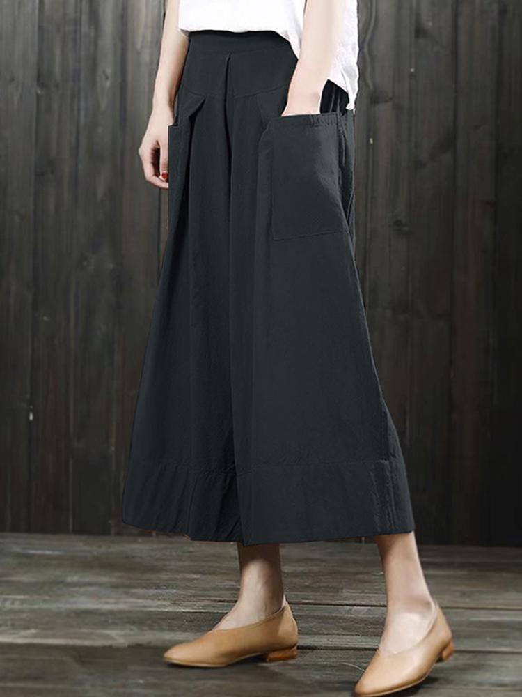 Women High Waist Loose Pockets Maxi Skirts