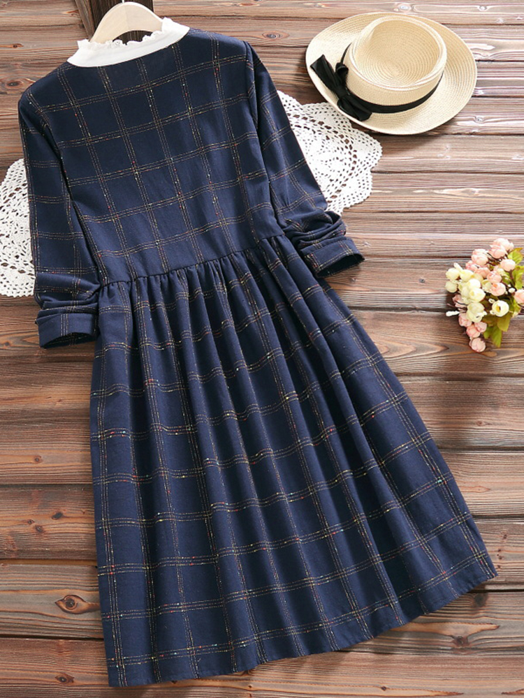 Vintage Women Plaid Patchwork Long Sleeve Dresses