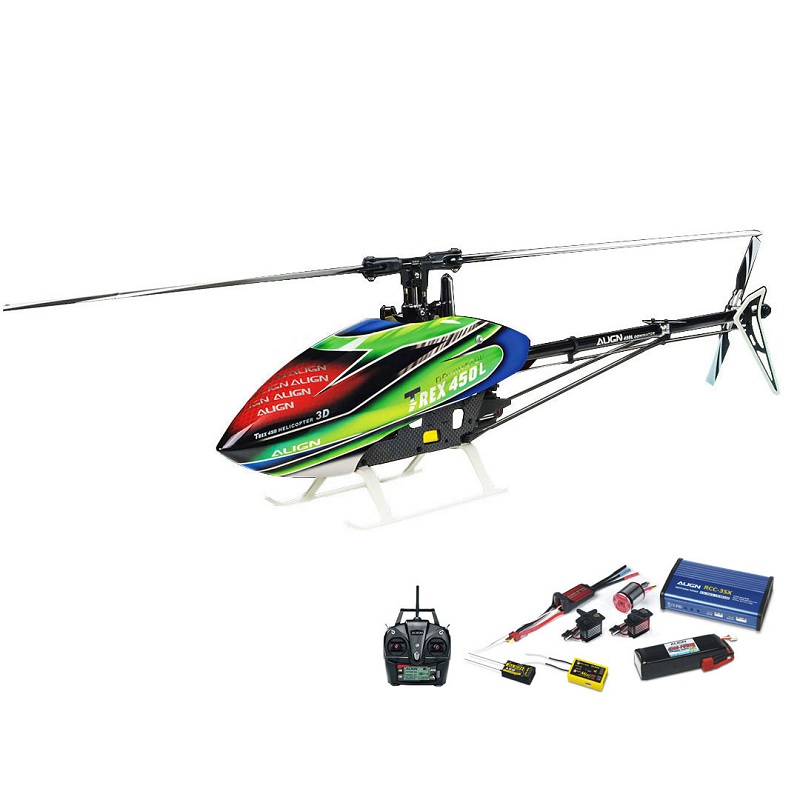 ALIGN T-REX 450LP RC Helicopter RH45E32XW Dominator Super Combo