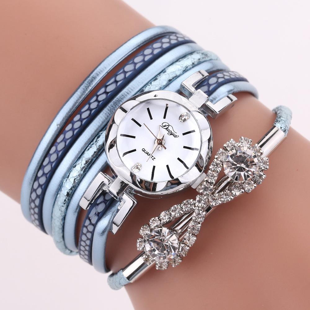DUOYAD258Часывстилеретро с бантом и кристаллами Женское Часы с браслетом