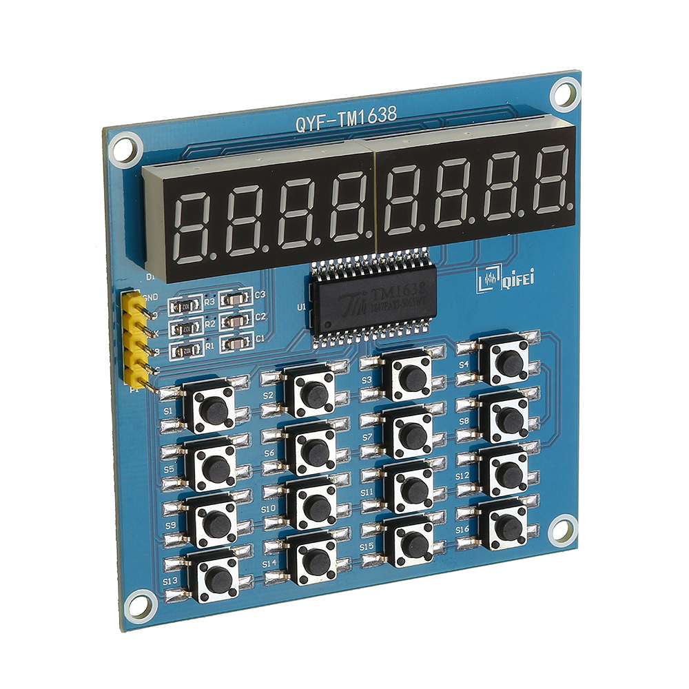 TM1638 3-Wire 16 Keys 8 Bits Keyboard Buttons Display Module Digital Tube  Board Scan And Key LED For Arduino