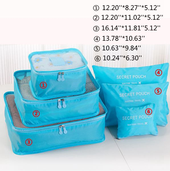 e6d55509efa 6Pcs Waterproof Cube Travel Storage Bags Clothes Pouch Nylon Luggage  Organizer Travel