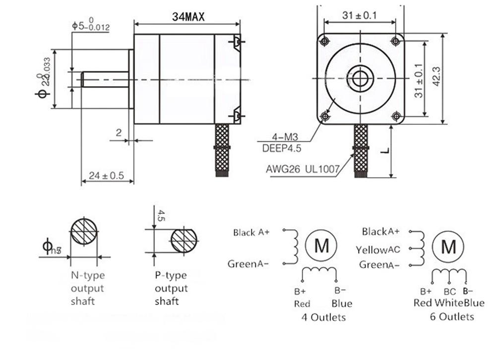 Machifit 42BYGH34-1304B Stepper Motor