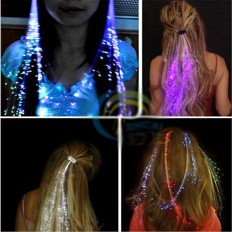 Flash LED Волосы Оплетка 40 СМ Декоративная Валентина Подарочная вечеринка с подсветкой Оптический удлинитель Заколка