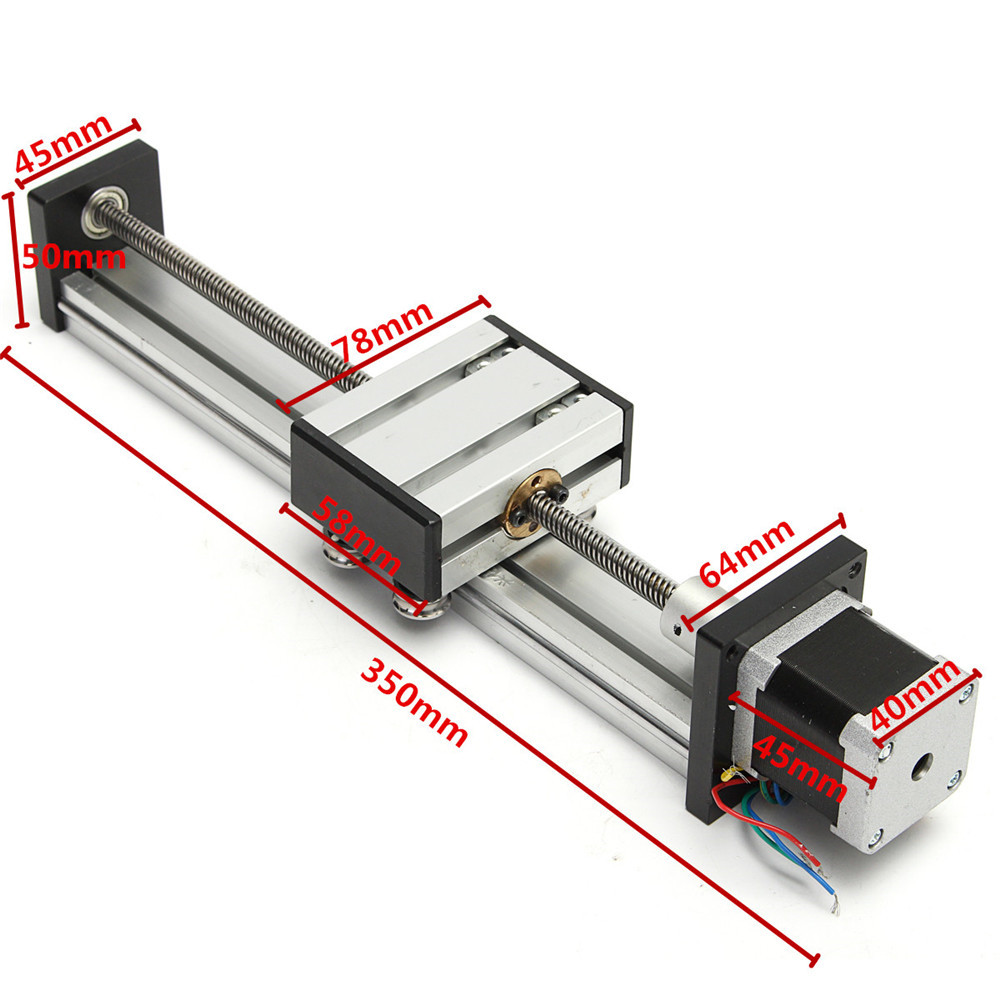 200mm Stroke Actuator CNC Linear Motion Lead Screw Slide Stage with 42 Stepper Motor