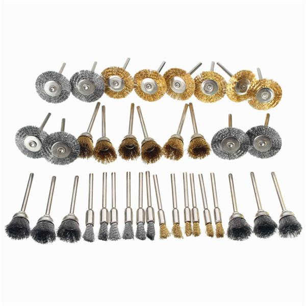 36pcs 3.175mm Shank Copper Steel Wire Polishing Wheel B