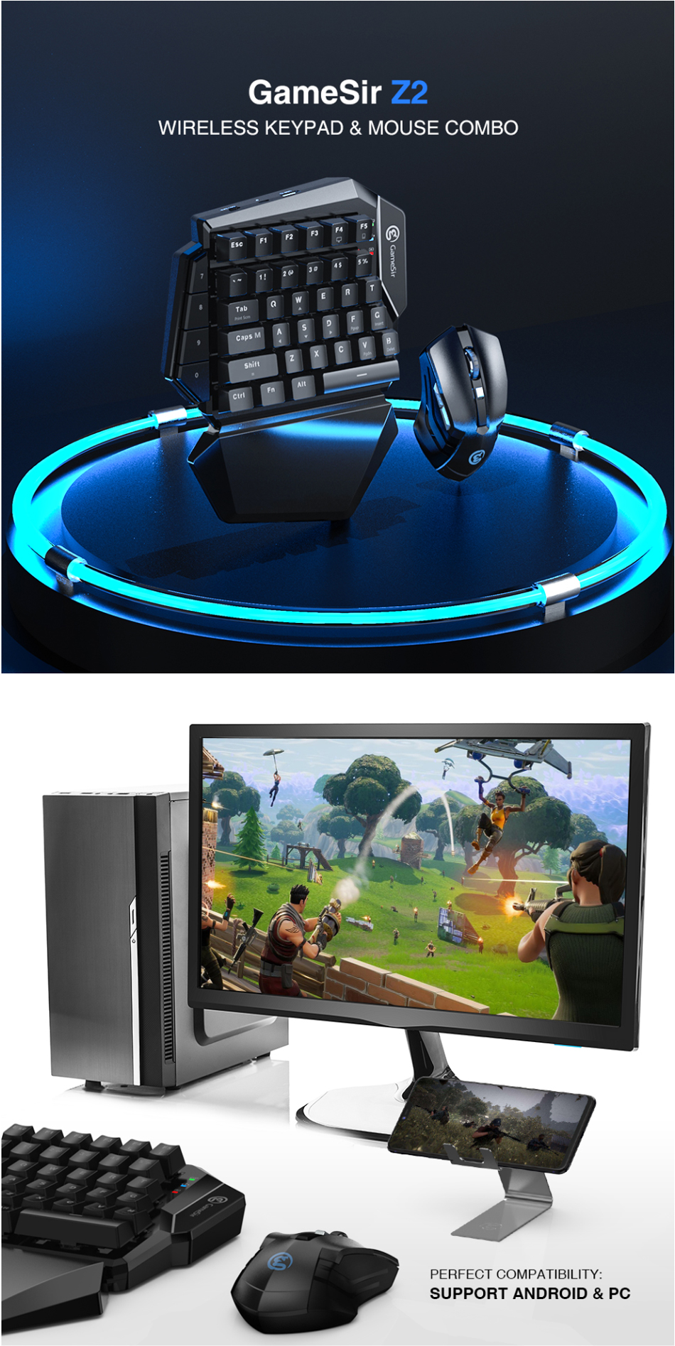 Gamesir Z2 2 in 1 2 4G Wireless Gaming Keyboard Mouse Converter Battle Dock  for PUBG Mobile Game