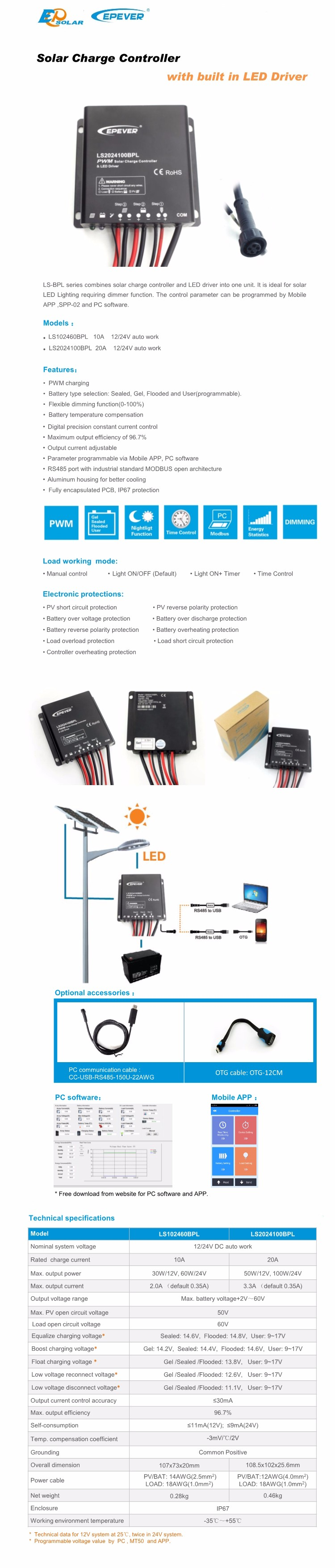 EPEVER 10A 12V 24V PWM Solar Charge Controller Timer IP67 Waterproof Led  Driver Solar Charge&Discharge Constant Current Controller