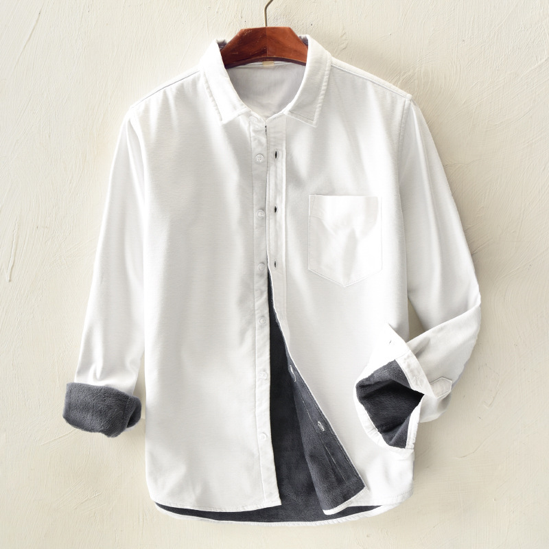 Men's Casual Winter Thicken Single Breasted Shirts Pure