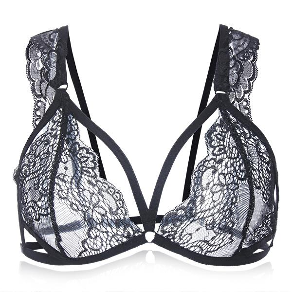 Сексуальные женщины перспектива кружева сетки bralette выдолбить интимная искушение починки ремень бюстгальтер топ нижнее белье