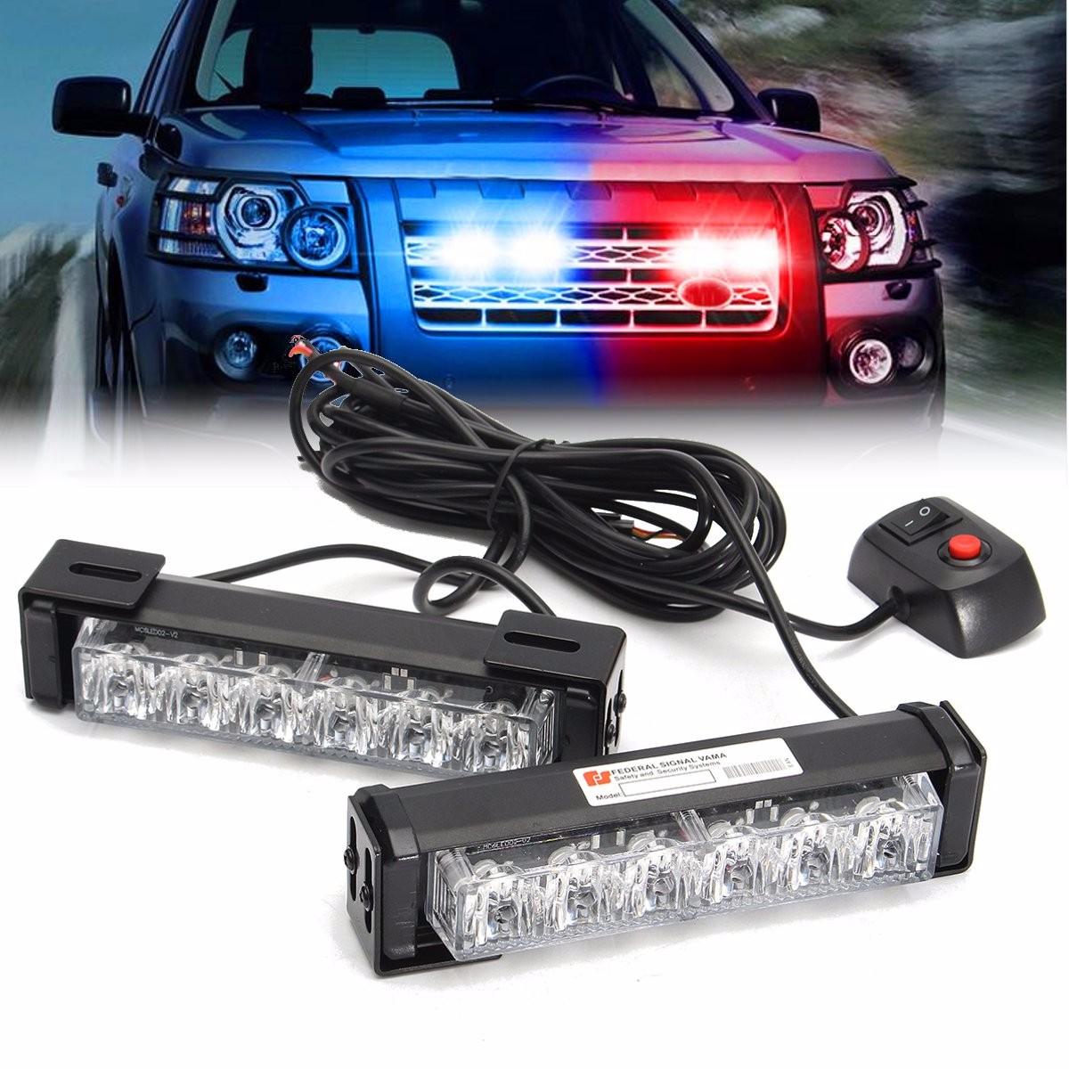 2 in 1 LED Strobe Lights Front Grille Flashlight Warning Lamp 12V 6W for SUV Truck Off Road Car