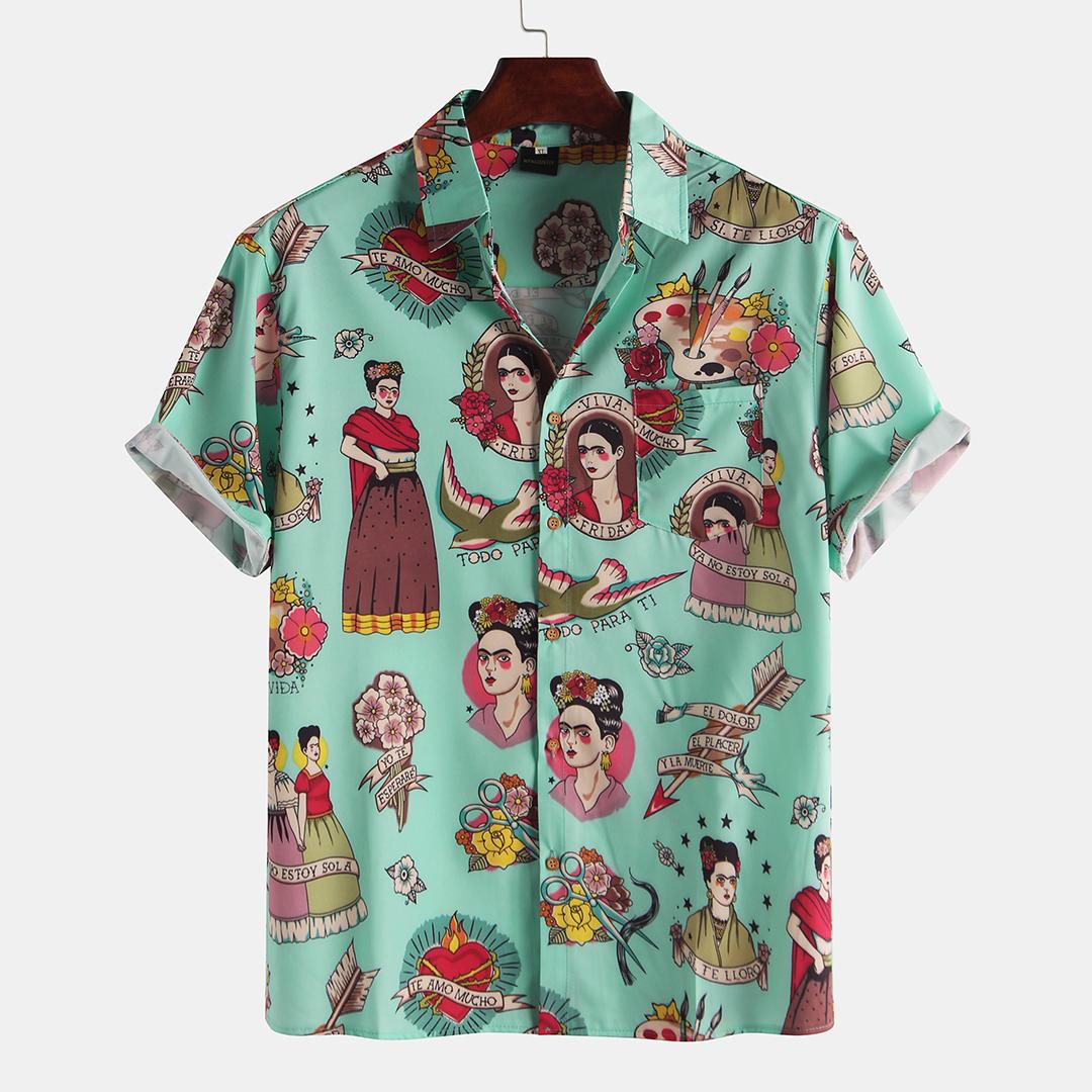 Palace Characters Print Short Sleeve Shirts