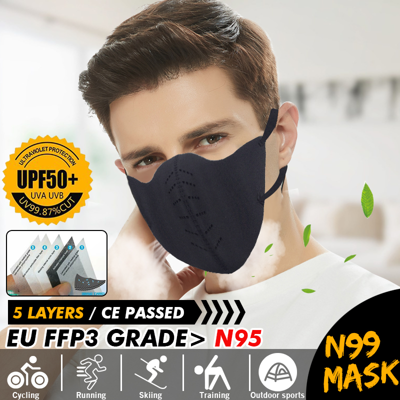 N99 FFP3 Face Mask Water Dust PM2.5 Proof Anti Smog Adjustable Nose Clip Filter Mouth Mask Protection W/ Filtration Pad
