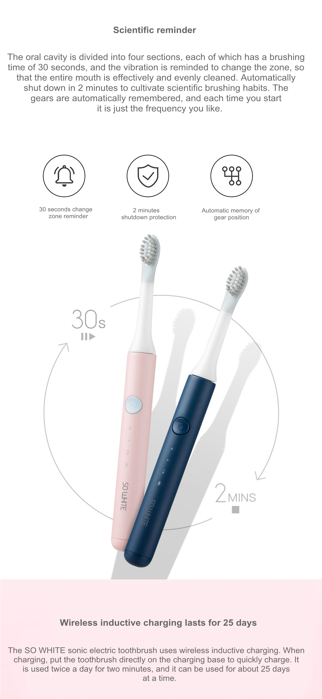 SO WHITE Wireless Sonic Electric Toothbrush 9