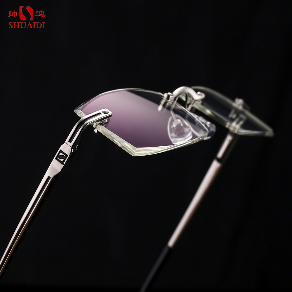 SHUAIDI Rimless Men Glasses Anti Blue Rays Radiation Co