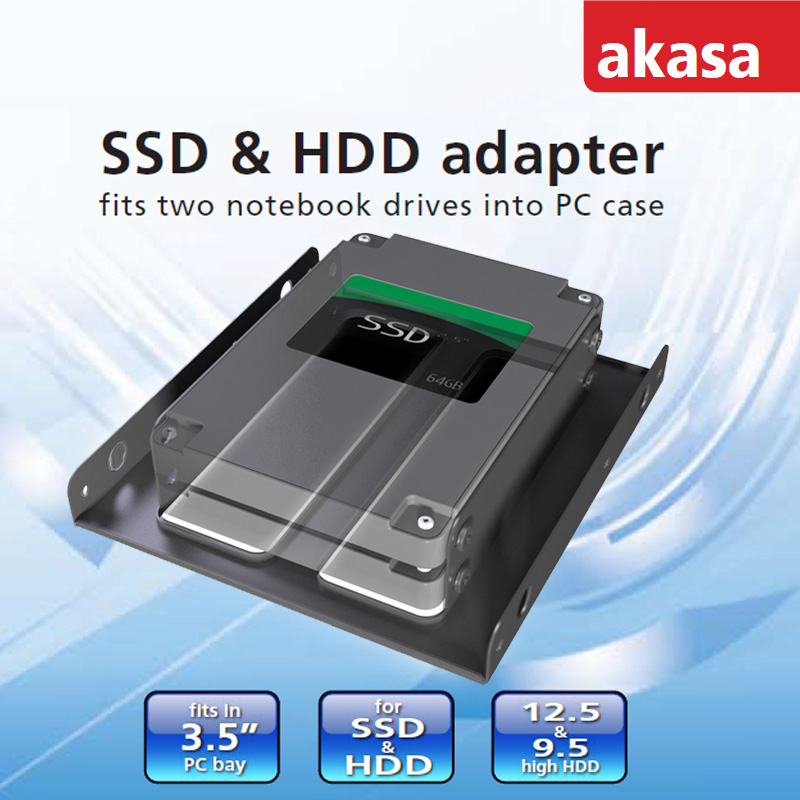 Akasa AK-HDA-03 2 5inch to 3 5inch SSD HDD Coverter Mounting Adapter Fit  Into 3 5