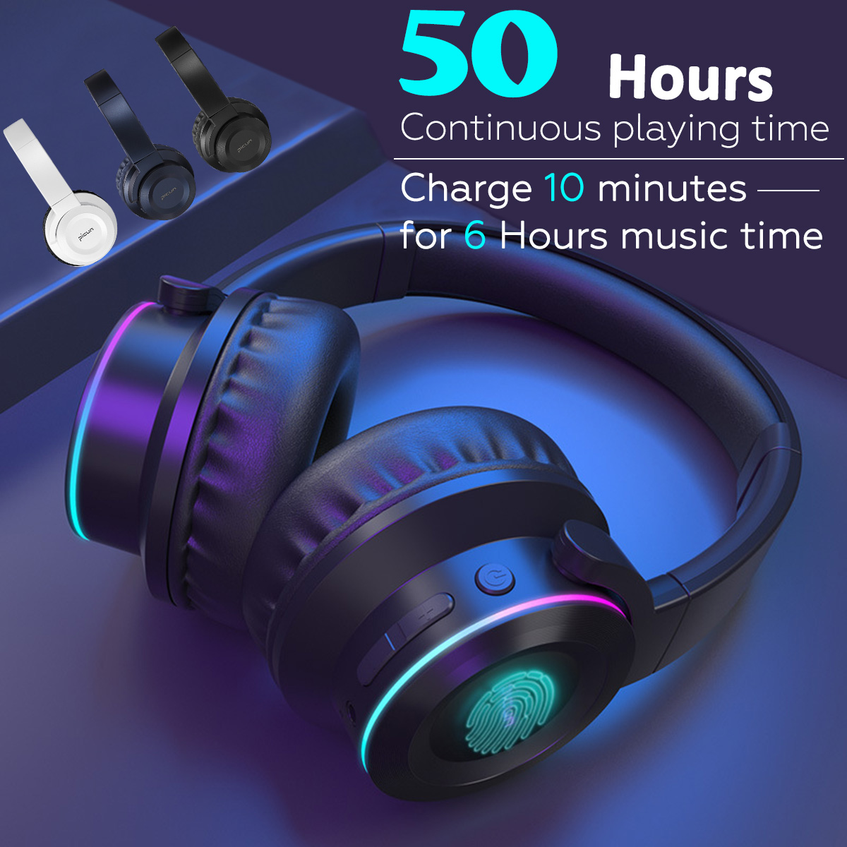 bluetooth Headphone Bass Wireless Colorful LED Light Touch Control Folable  Handsfree Headset Support TF Card AUX for IOS Android