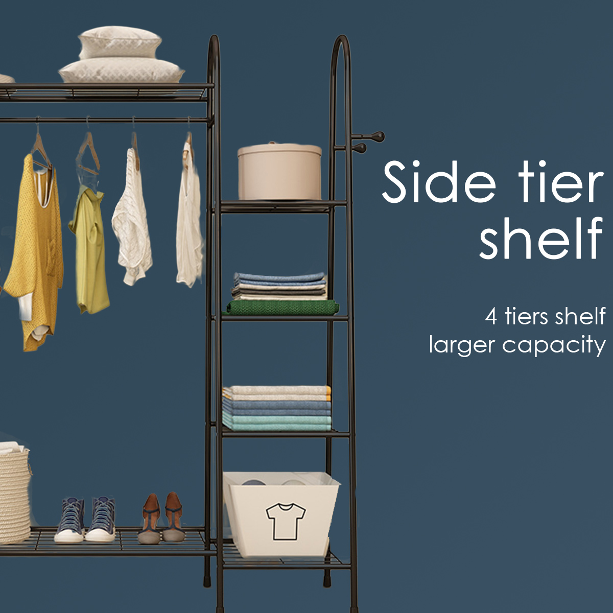 Multi-layers Floor Hanger Clothes Rack Shoes Storage Shelf Hats Wardrobe for Home Furniture 3