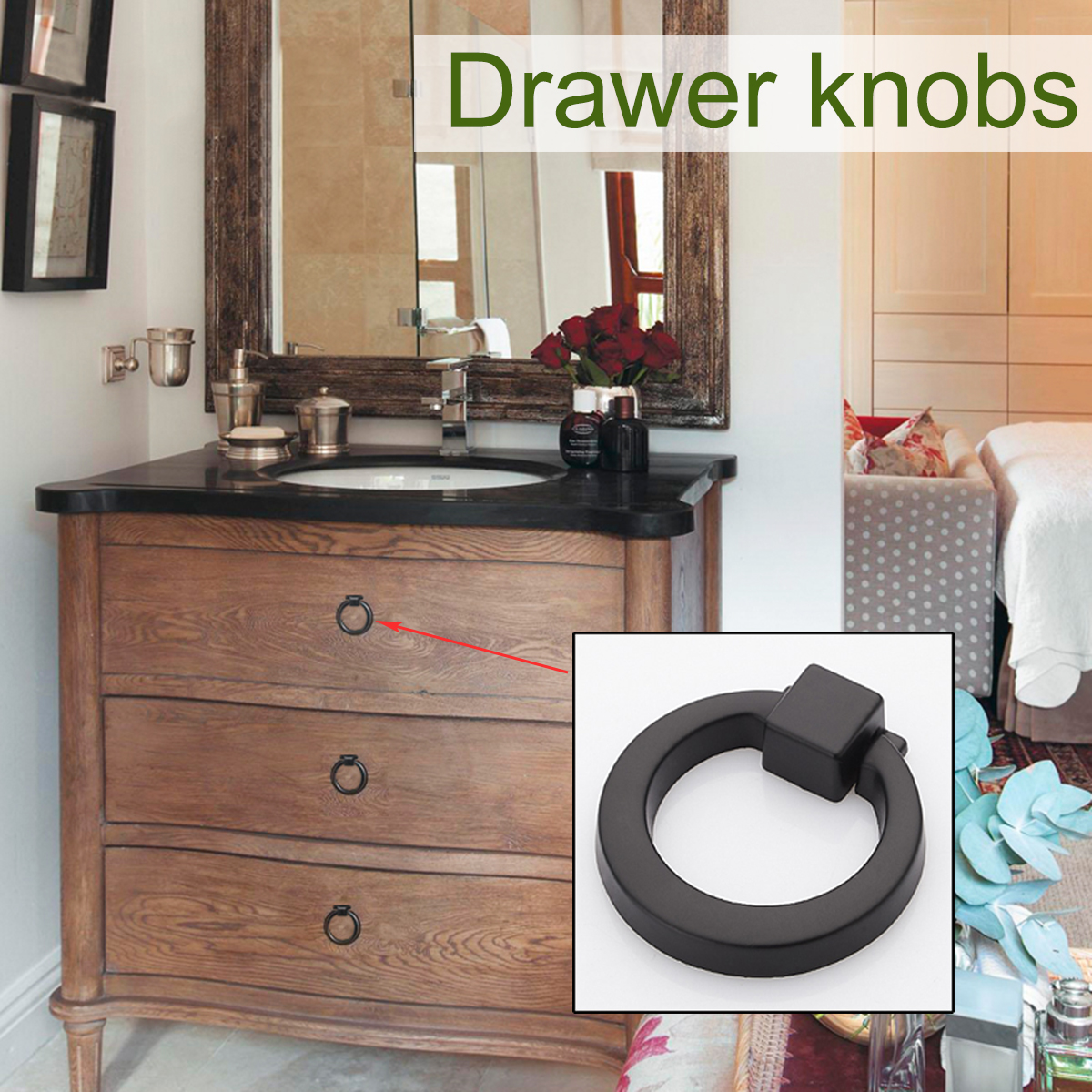 Knobs Pull Ring for Drawer Cabinet Cupboard Door Furniture Handle Furniture Component