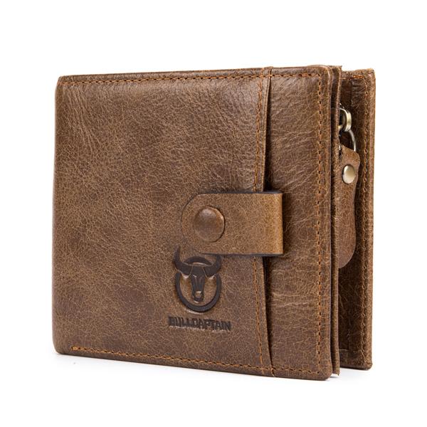 Bullcaptain Men Cowhide 9 Card Slots Zipper Coin Bag Wallet