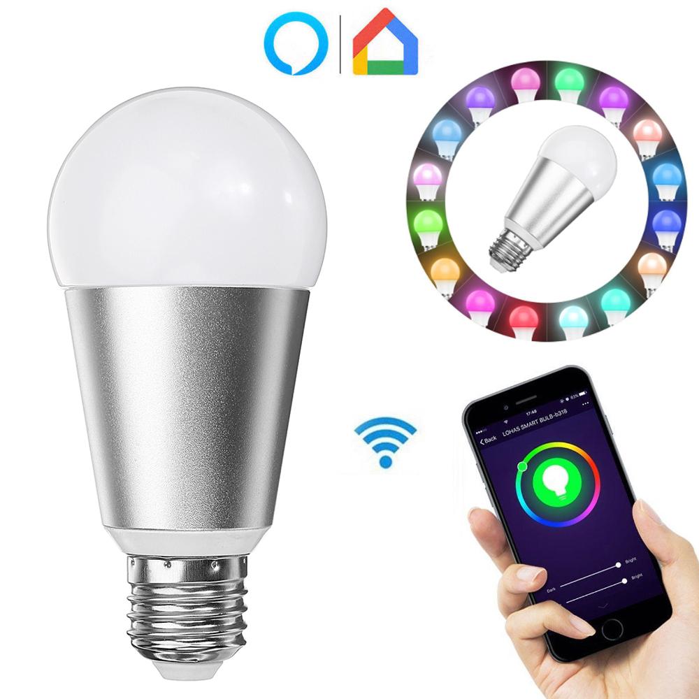 E27 7W RGBW WiFi APP Control Smart Light Bulb Работа с Alexa Google Главная AC110-240V