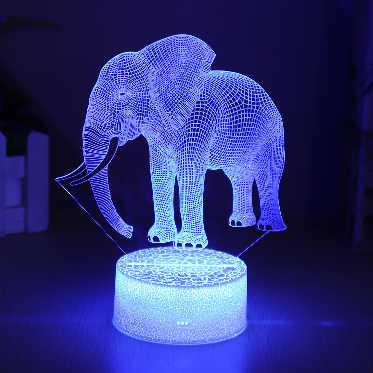 СлонМодельДистанционноеУправлениеСенсорныйВыключатель 3D Акрил LED 7/16 Цвета цветful Свет Рождественские Подарочные Украшения