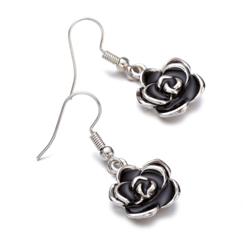 Retro Black Rose Flower Ear Drop Alloy Women Elegant A