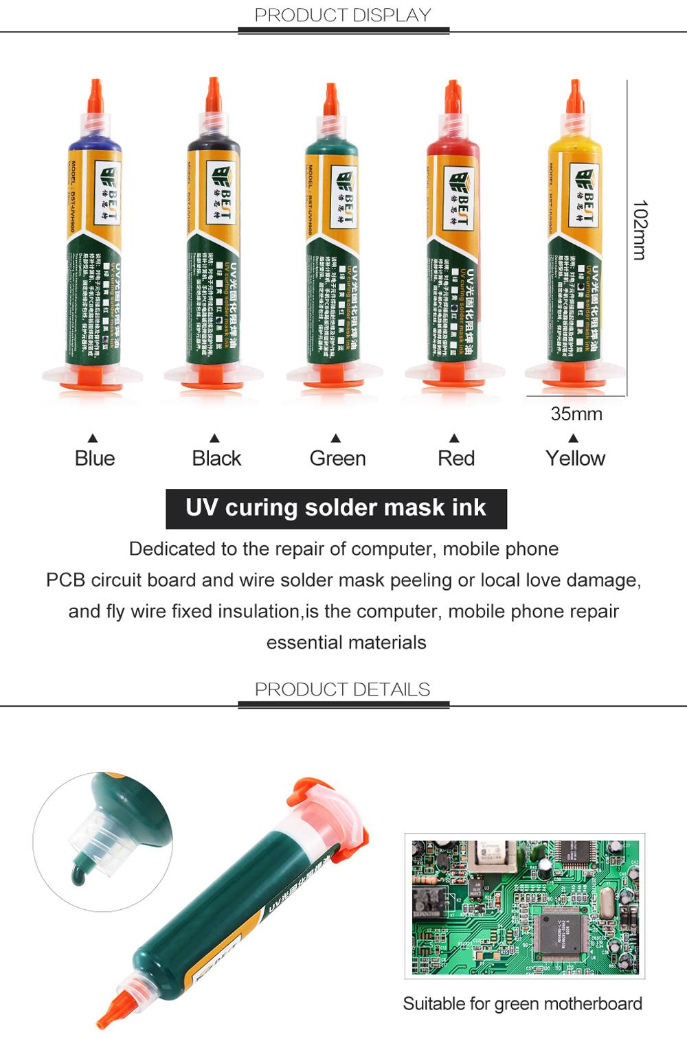 BEST UV Curing Solder Mask Ink BGA PCB Paint Prevent Corrosive Arcing  Soldering Paste Flux