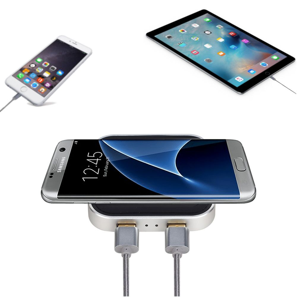 QC2.0 Aluminium F400-U 10W Fast Charge Wireless Charging Pad For iPhone Samsung HUAWEI Smartphone