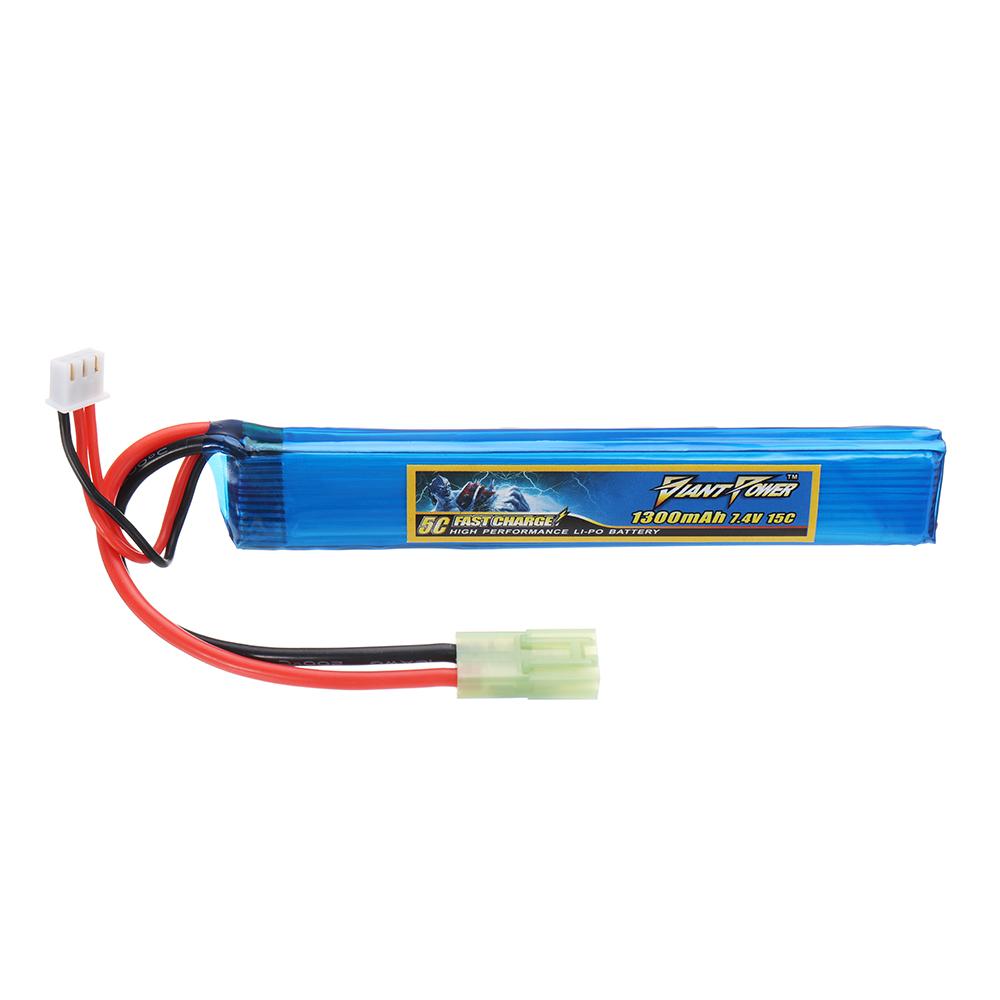 Гигантская мощность 7.4V 1300mAh 2S 15C LiPo Батарея AIRSOFT Pack Mini-Tamiya Plug