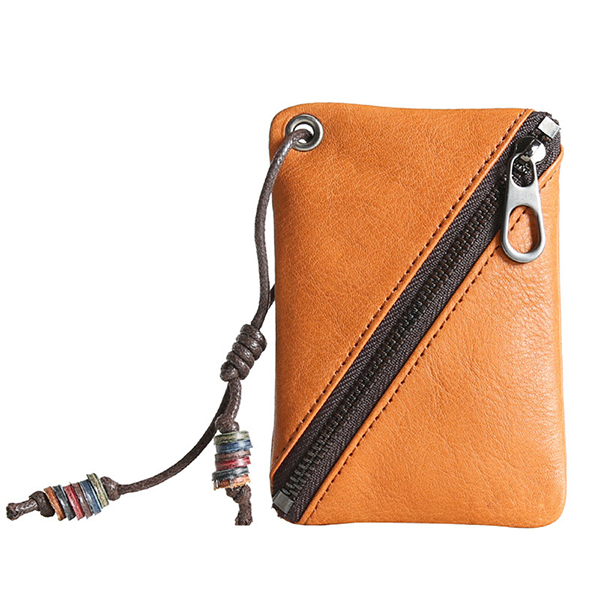 Genuine Leather Solid Zipper Coin Purse Wallet For Men Women