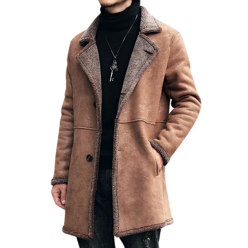 112e2893 herre midter lang faux beskyttelseslæder trench coat suede jakke i ...