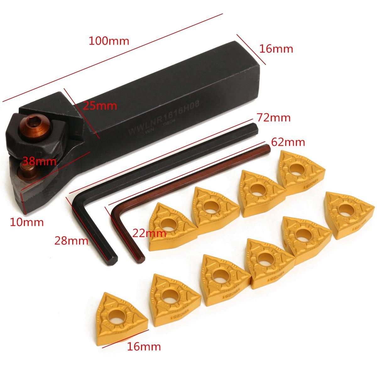 10pcs  WWLNR1616K08 16x100mm Lathe External Turning Tool Holder For WNMG 0804