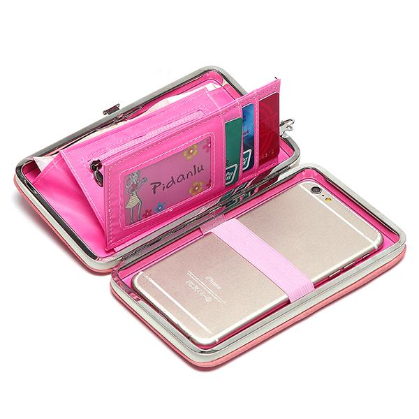 Женщины конфеты цвет bowkot 5.5 дюйма телефон бумажники случай Hasp длинный кошелек сцепления для Iphone Samsung