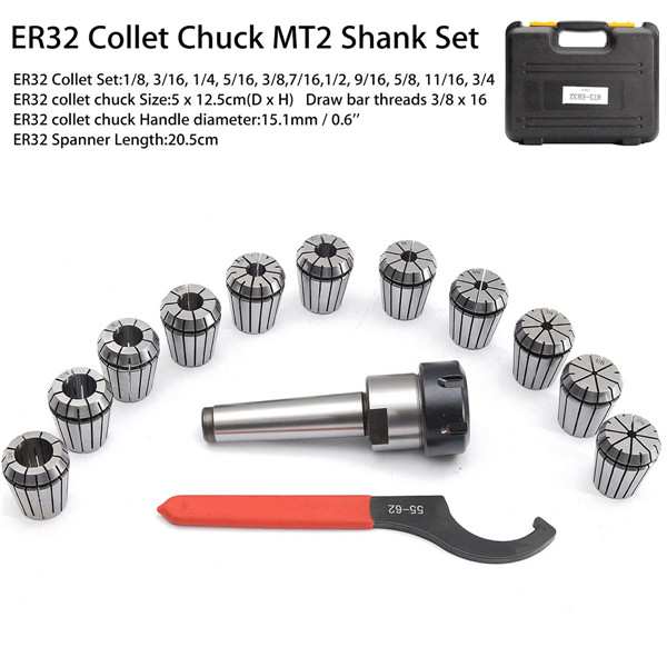 "MT3 Shank ER32 Chuck With 15 PCS Collets 1//8/""-3//4/"" Set with Box for CNC Milling"