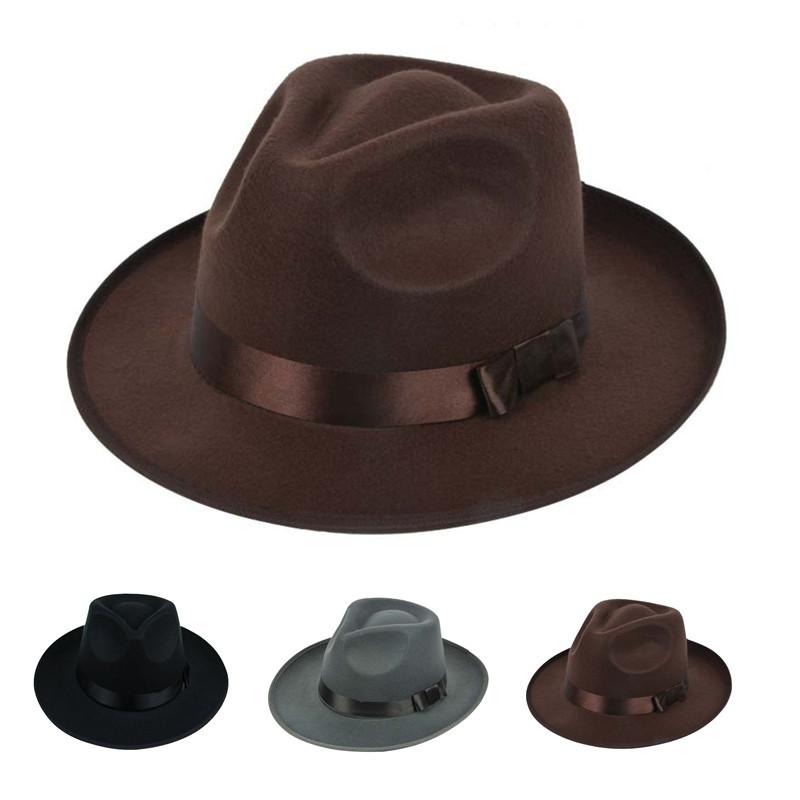 a27f6a076 Women ladies Cotton Blend Jazz Felt Fedora Cap Wide Brim Bowler Trilby  Panama Hat