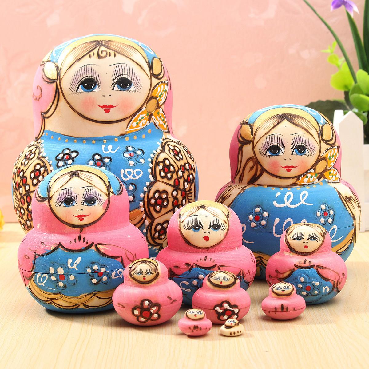 10pcs Hand Painted Blue Dolls Set Wooden Russian Nesting Babushka Matryoshka