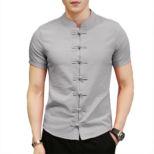 2bb626693 chinese knot buckle vintage chic mandarin collar men shirts at Banggood