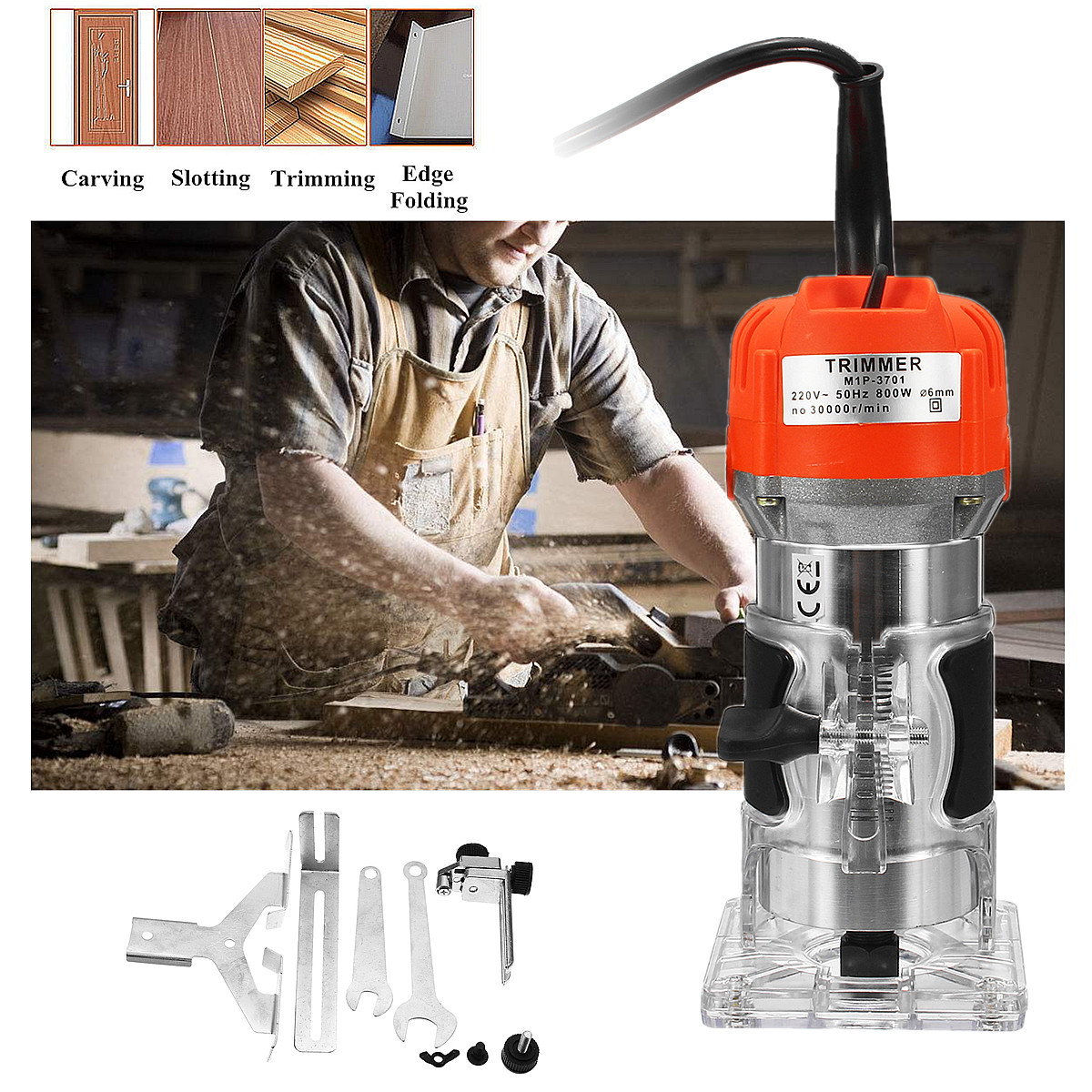Raitool 800w 30000rmp Electric Hand Trimmer 1 4 Inch Corded Wood Laminate Palm Router