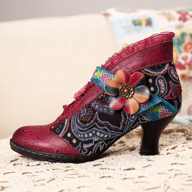 afae9d25ba8d6 SOCOFY Vintage Lace Hook Loop Genuine Leather Ankle Boots